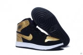 Air Jordan 1 Women Black Golden Purple