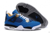 AAA Air Jordan 4 Canvas Blue Black White Yellow