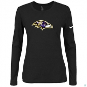 Nike Baltimore Ravens Women's Of The City Long Sleeve TriBlend TShirt Black