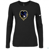 Nike Baltimore Ravens Women's Of The City Long Sleeve TriBlend TShirt Black 2