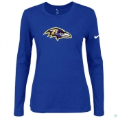 Nike Baltimore Ravens Women's Of The City Long Sleeve TriBlend TShirt Blue