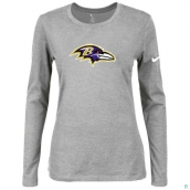 Nike Baltimore Ravens Women's Of The City Long Sleeve TriBlend TShirt L-Grey
