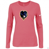 Nike Baltimore Ravens Women's Of The City Long Sleeve TriBlend TShirt Pink 2