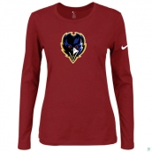 Nike Baltimore Ravens Women's Of The City Long Sleeve TriBlend TShirt Red 2