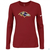 Nike Baltimore Ravens Women's Of The City Long Sleeve TriBlend TShirt Red