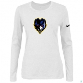 Nike Baltimore Ravens Women's Of The City Long Sleeve TriBlend TShirt White 2