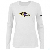 Nike Baltimore Ravens Women's Of The City Long Sleeve TriBlend TShirt White