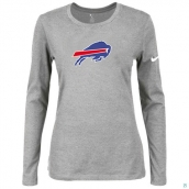 Nike Buffalo Bills Women's Of The City Long Sleeve TriBlend TShirt L-Grey