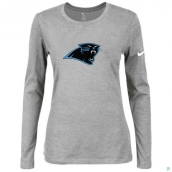 Nike Carolina Panthers Women's Of The City Long Sleeve TriBlend TShirt  L-Grey