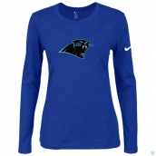 Nike Carolina Panthers Women's Of The City Long Sleeve TriBlend TShirt Blue