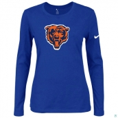 Nike Chicago Bears Women's Of The City Long Sleeve TriBlend TShirt Blue 2