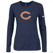 Nike Chicago Bears Women's Of The City Long Sleeve TriBlend TShirt D-Blue