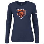 Nike Chicago Bears Women's Of The City Long Sleeve TriBlend TShirt D-Blue 2