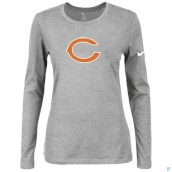 Nike Chicago Bears Women's Of The City Long Sleeve TriBlend TShirt L-Grey