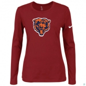 Nike Chicago Bears Women's Of The City Long Sleeve TriBlend TShirt Red 2