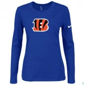 Nike Cincinnati Bengals Women's Of The City Long Sleeve TriBlend TShirt Blue