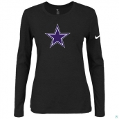 Nike Dallas Cowboys Women's Of The City Long Sleeve TriBlend TShirt Black