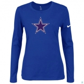 Nike Dallas Cowboys Women's Of The City Long Sleeve TriBlend TShirt Blue