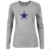 Nike Dallas Cowboys Women's Of The City Long Sleeve TriBlend TShirt L-Grey