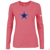 Nike Dallas Cowboys Women's Of The City Long Sleeve TriBlend TShirt Pink