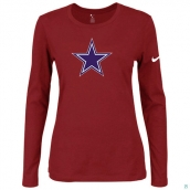 Nike Dallas Cowboys Women's Of The City Long Sleeve TriBlend TShirt Red