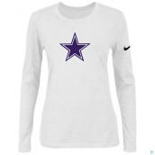 Nike Dallas Cowboys Women's Of The City Long Sleeve TriBlend TShirt White