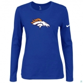 Nike Denver Broncos Women's Of The City Long Sleeve TriBlend TShirt Blue