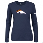 Nike Denver Broncos Women's Of The City Long Sleeve TriBlend TShirt D-Blue