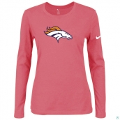 Nike Denver Broncos Women's Of The City Long Sleeve TriBlend TShirt Pink
