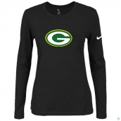 Nike Green Bay Packers Women's Of The City Long Sleeve TriBlend TShirt Black