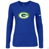 Nike Green Bay Packers Women's Of The City Long Sleeve TriBlend TShirt Blue