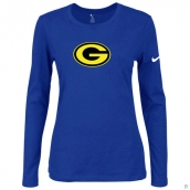 Nike Green Bay Packers Women's Of The City Long Sleeve TriBlend TShirt Blue 2