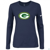 Nike Green Bay Packers Women's Of The City Long Sleeve TriBlend TShirt D-Blue
