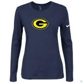 Nike Green Bay Packers Women's Of The City Long Sleeve TriBlend TShirt D-Blue 2