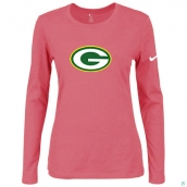 Nike Green Bay Packers Women's Of The City Long Sleeve TriBlend TShirt Pink