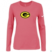 Nike Green Bay Packers Women's Of The City Long Sleeve TriBlend TShirt Pink 2