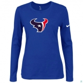 Nike Houston Texans Women's Of The City Long Sleeve TriBlend TShirt Blue