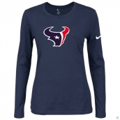 Nike Houston Texans Women's Of The City Long Sleeve TriBlend TShirt D-Blue