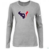 Nike Houston Texans Women's Of The City Long Sleeve TriBlend TShirt L-Grey