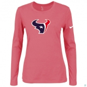 Nike Houston Texans Women's Of The City Long Sleeve TriBlend TShirt Pink