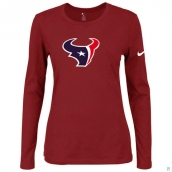 Nike Houston Texans Women's Of The City Long Sleeve TriBlend TShirt Red