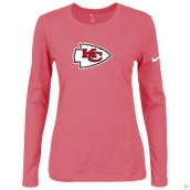 Nike Kansas City Chiefs Women's Of The City Long Sleeve TriBlend TShirt Pink