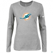 Nike Miami Dolphins Women's Of The City Long Sleeve TriBlend TShirt L-Grey