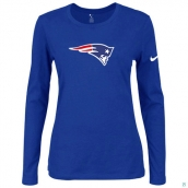 Nike New England Patriots Women's Of The City Long Sleeve TriBlend TShirt Blue