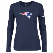 Nike New England Patriots Women's Of The City Long Sleeve TriBlend TShirt D-Blue