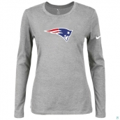 Nike New England Patriots Women's Of The City Long Sleeve TriBlend TShirt L-Grey