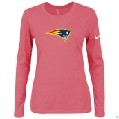 Nike New England Patriots Women's Of The City Long Sleeve TriBlend TShirt Pink 2