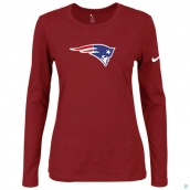 Nike New England Patriots Women's Of The City Long Sleeve TriBlend TShirt Red
