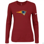Nike New England Patriots Women's Of The City Long Sleeve TriBlend TShirt Red 2
