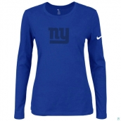 Nike New York Giants Women's Of The City Long Sleeve TriBlend TShirt Blue 2